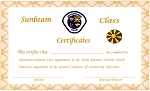 Sunbeam Completion Cert.  TOTALLY NEW REDESIGNED CERTIFICATES!