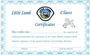 Little Lamb Completion Cert. TOTALLY NEW REDESIGNED CERTIFICATES!